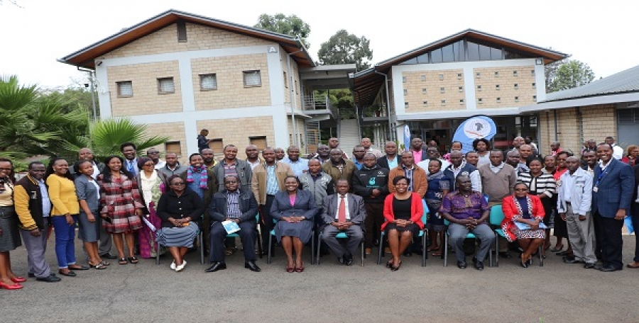 Mrs. Jacinta Akatsa- HSC, Director CEMASTEA (seated-centre) with various stakeholders from TSC, World Bank, CEMASTEA staff and SEQIP trainers