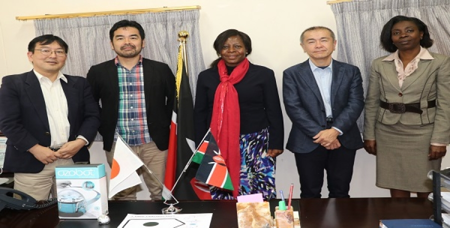 Castalia Corporation delegation led by their CEO Mr. Satoshi Yamawaki (2nd left) after demonstrating how Ozobot works (robot by Castalia Corporation) to Mrs. Jacinta Akatsa – HSC (middle), Director CEMASTEA.